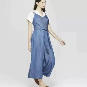 Universal thread blue chambray jumpsuit